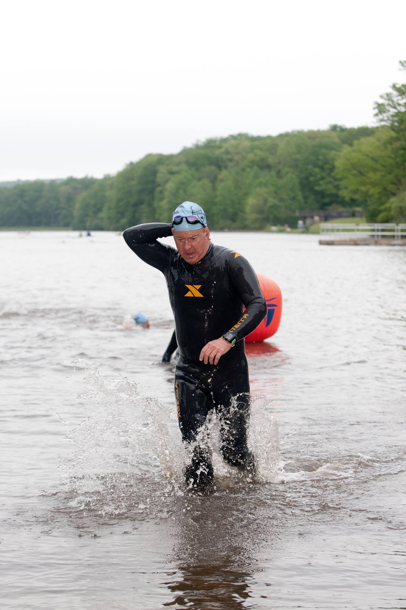 French Creek Olympic Triathlon 2016-Swim Exit